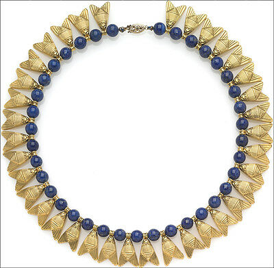 "16"" Egyptian Fly Necklace with Lapis - Museum Store Collection"