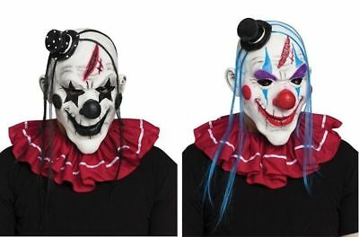 Horror Circus Clown Jester Scary Halloween Mask Adult Costume Accessory NEW