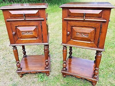Antique French Carved Walnut Bed Side Cabinets Tables