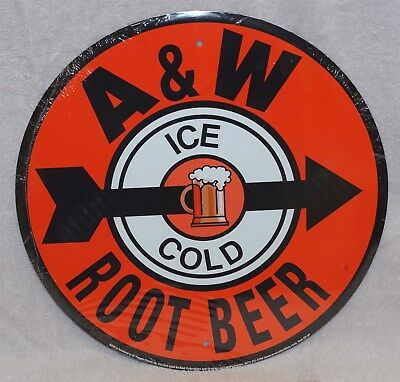 Nostalgic A & W Root Beer Round Metal Sign, New!