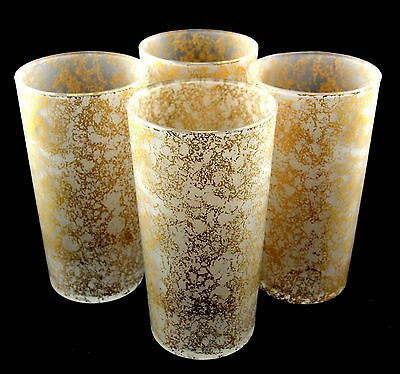 Set of 4 Vintage 1950's Libbey Gold White Frosted Beverage Cocktail Glasses