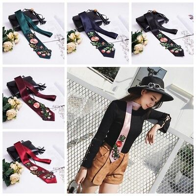 Lady Skinny Scarf Embroidery Floral Satin Long Necktie Cravat Shawl Casual Decor