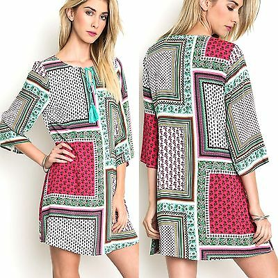 Umgee Dress Size XL S M L Patchwork Tunic Retro Sleeve Boho Womens Boutique New