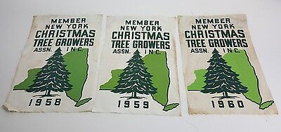 Vintage Sign Ny Christmas Tree Growers Lot Of 3 Cloth 1958 1960