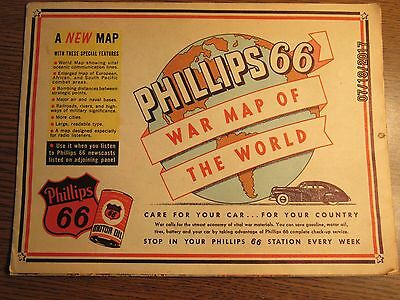 Old 1944 Phillips 66 Wwii War Map Of The World