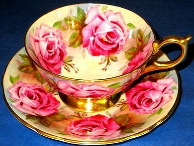Aynsley EXQUISITE Large Pink Roses Rich Gold Cup & Saucer