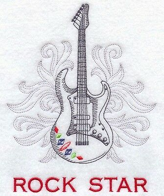 Embroidered ROCKSTAR Quilting Block,Cushion,Framed,Fabric,Sewing