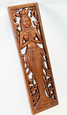 Balinese Mermaid Wall Art Sculpture Panel Bali architectural Hand Carved Wood