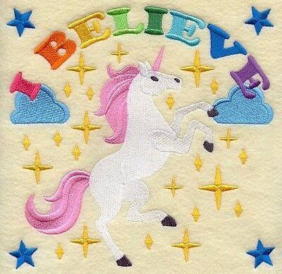 Embroidered I BELIEVE Quilting Block,Cushion,Framed,Fabric,Sewing