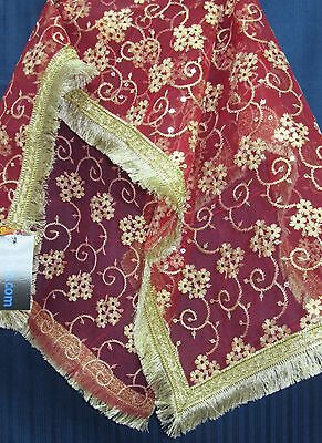 Mata Chunni 7785 Red Net Indian Pooja Ghar Chunni Shieno Sarees