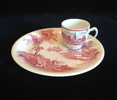 Johnson Bros The Old Mill Snack Plate And Cup Set Red Made In England