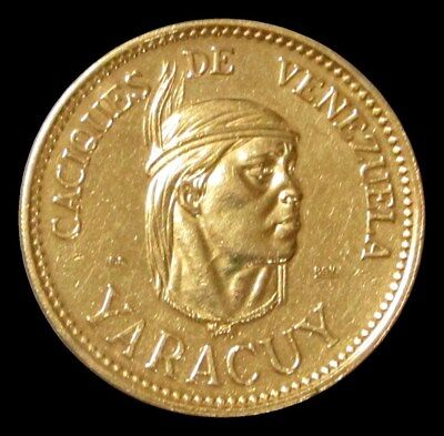 1960 Gold Venezuela Indian Caciques Yaracuy Chieftain 15 Grams Coin