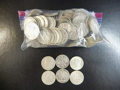 Lot of 136 U.S. 90% Silver Half Dollar Coins Dated 1964 & Before