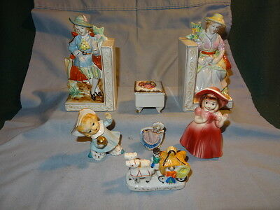Lot of 7 VINTAGE FIGURINES~Colonial~Victorian ~ MADE IN JAPAN~ANTIQUE