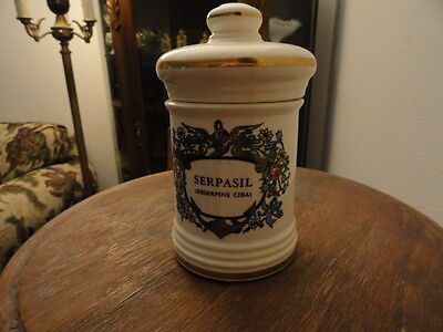 Apothecary Jar Serpasil Jean Robbinette Hand Painted PERFECT