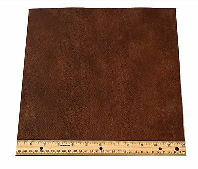 UPHOLSTERY LEATHER PIECE COWHIDE MEDIUM BROWN Light Weight 1 Square Foot