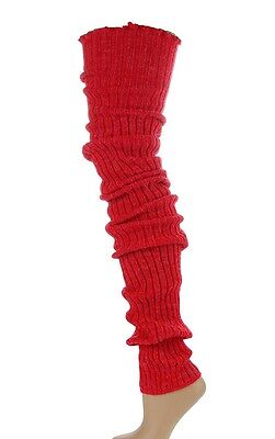 """THIGH HIGH Long LEG WARMERS Over Knee RED Warm Thick Cable Knit 39"""" Boot Cover"""