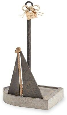 Mud Pie 4715001 Gray-Washed Wood Paper Towel Holder, Sailboats