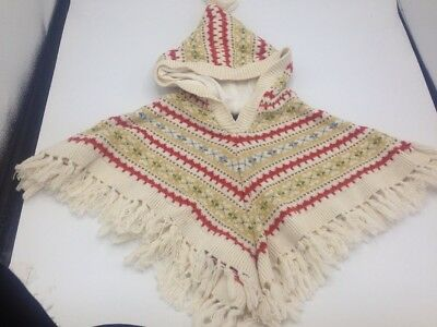 Baby Gap Hooded Poncho Sweater Girls Size 12-18 months