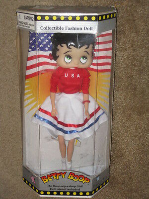 New 1998 Precious Kids Betty Boop Collectible Fashion Doll Patriotic USA Outfit