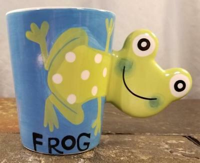 Frog 3-D Figural Shaped Handle Indra Fine Stoneware Hand-Painted Coffee Mug Cup