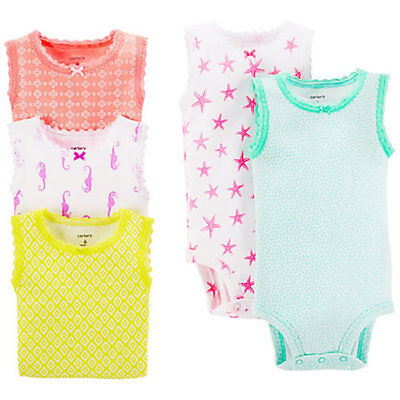 5 Pack of Carter's Baby Girl Bodysuits in Assorted Colors - 3 Months