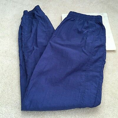 vintage reebok womens medium track pants windbreaker material nylon zip leg cinc