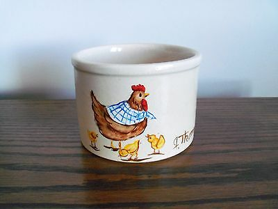 Robinson Ransbottom Pottery Painted Crock Mother Hen With Chicks Artist Signed