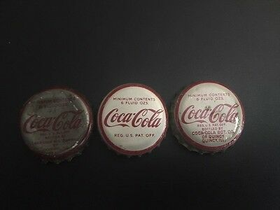 Three different Coca Cola Cork Backed Used Bottle Caps
