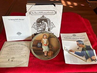 """NORMAN ROCKWELL PLATE """"A YOUNG GIRL'S DREAM"""" #1 Issue ROCKWELL'S AMERICAN DREAM"""