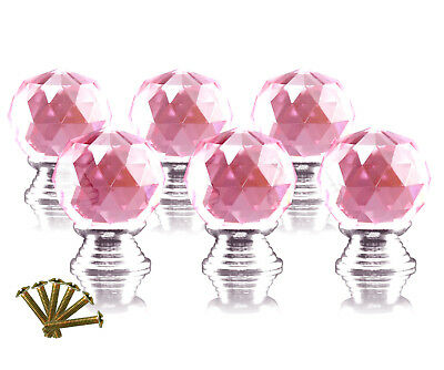 6 x 30mm Pink Crystal Clear Glass Cut Door Knob Pull Cabinet Kitchen Handle Set