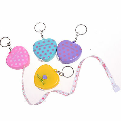 4 Pcs 1.5m Plastic Push Button Retractable Sewing Measuring Tape with Keychain