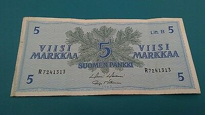 1963 Finland 5 Markkaa Banknote, Extra Fine Condition Cat#99-