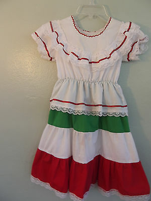 Vintage~Handmade,Girl's/Child's~ Cotton Boho Mexican Peasant Dress