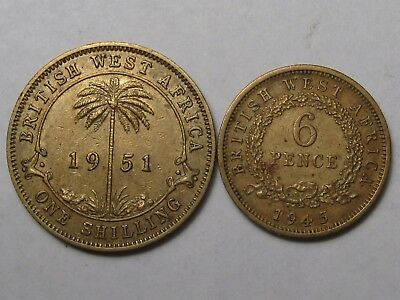 2 High Grade British West Africa Coins: Shilling & 6 Pence.  #48