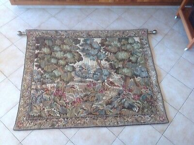 Antique?vintage?  aubusson verdure style wool tapestry wall hanging 150 x 120 cm