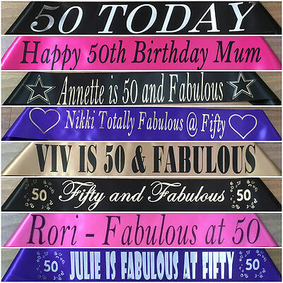 50th Birthday -  Personalised Party Sash - Any Wording - Any Name - 20 Colours