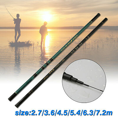 2.7-7.2m Canne à Pêche Fibre Carbone Portable pr Eau Douce Leurres Fishing Rod