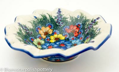 Polish Pottery Scalloped Serving Bowl- Painted Flowers