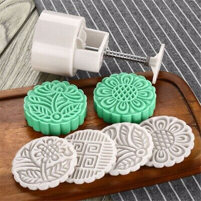 125g 4 Stamps Flower Mooncake Moon Cake DIY Round Mold Baking Tool Set