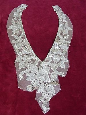 COL N03 incrustation dentelle tulle brodé Old embroidered tulle lace collar