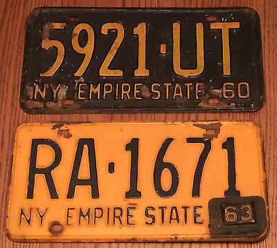 1960 and 1963 New York State License Plates. Black and Gold. Yellow and Blue.