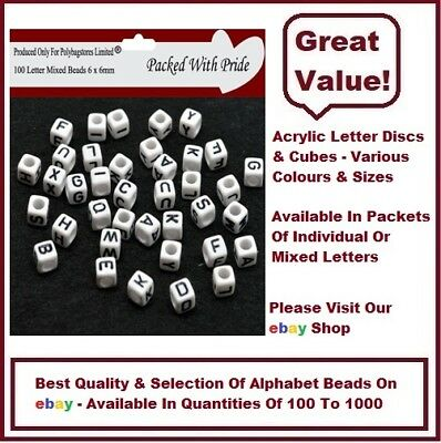 WHITE CUBE - Acrylic Single Letter A-Z White Cube Alphabet Beads 6mm