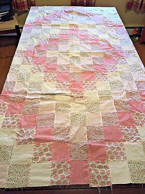 Twin Quilt Top Handmade Pastel Pink and Green UNFINISHED Patchwork
