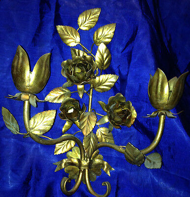 Vintage Brass Sconce with Roses and 2 Tapered Candle Holders