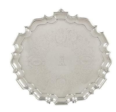 """Lovely Antique Victorian Sterling Silver 12"""" Tray/salver - 1894"""