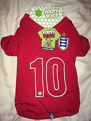 Dog Coat England Style # 10 Red Footbal Jersey Shirt Size Small Footy Dogz Away
