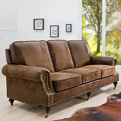 chesterfield sofa braun eur 111 05 picclick de. Black Bedroom Furniture Sets. Home Design Ideas