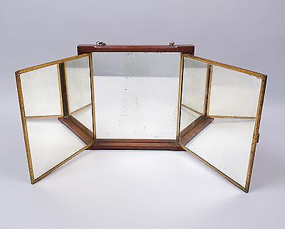 Antique Wooden Framed Hanging 3 Part Folding Cowboy Rooming House Shaving Mirror