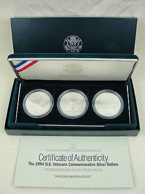 1994 U.S. Veterans Commemorative UNC Silver Dollar SET of 3 coins! w/COA